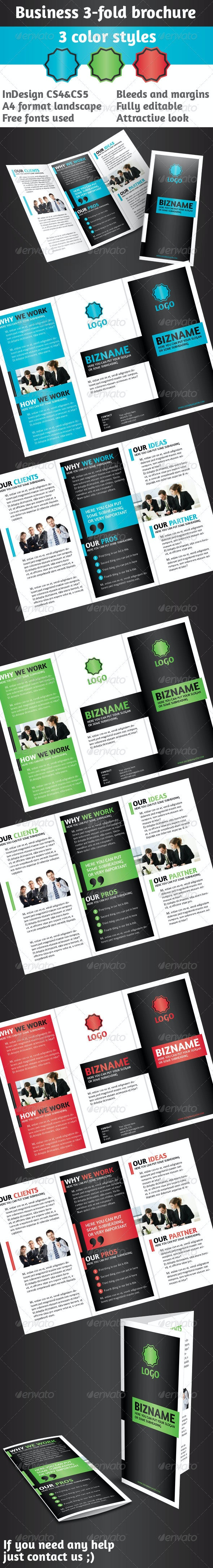Business 3-Fold Brochure - Multi Color InDesign - Corporate Brochures