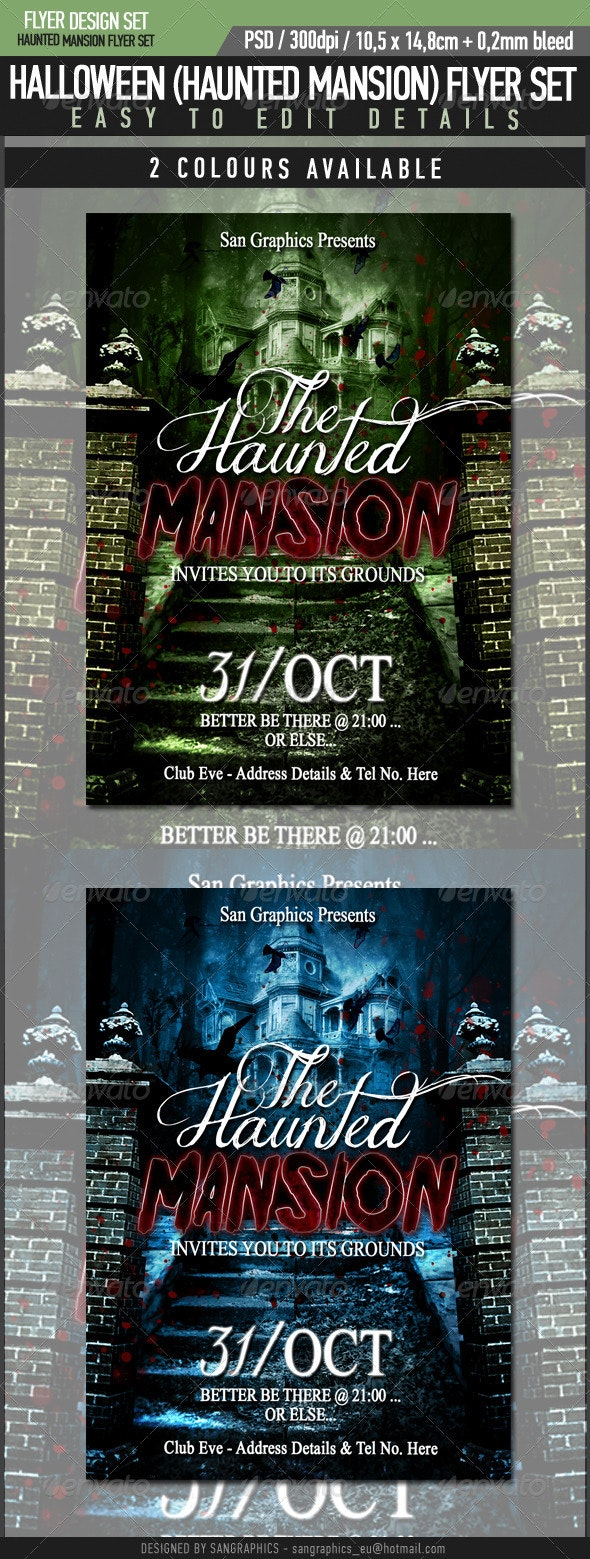 Halloween Haunted Mansion Flyer - Clubs & Parties Events