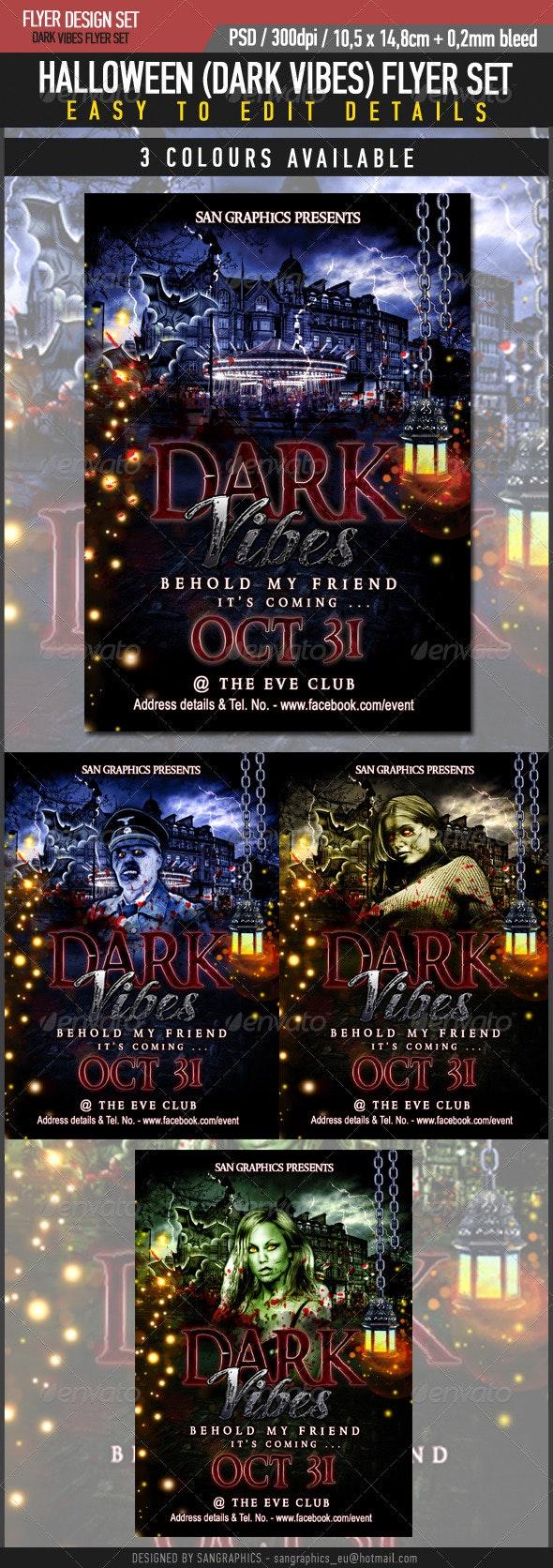 Halloween Dark Vibes Flyer Set - Clubs & Parties Events