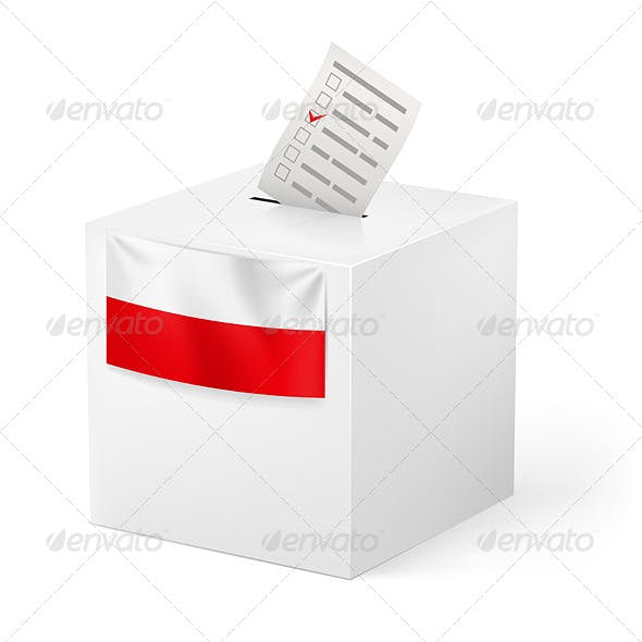 Ballot Box with Voicing Paper for Poland