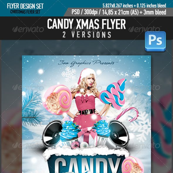 Candy Xmas Christmas Party Flyer Template