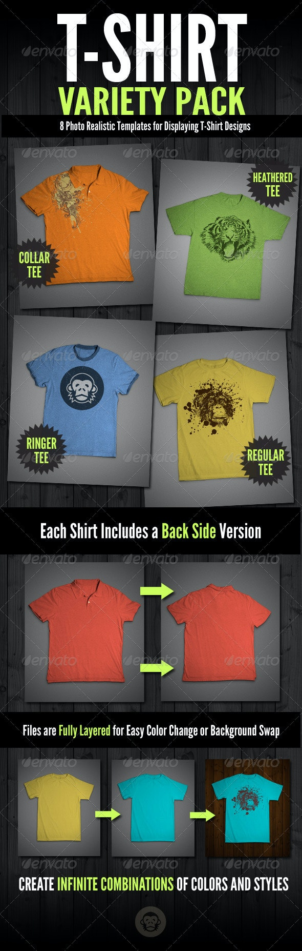 T-Shirt Mock-Ups - Variety Pack - T-shirts Apparel