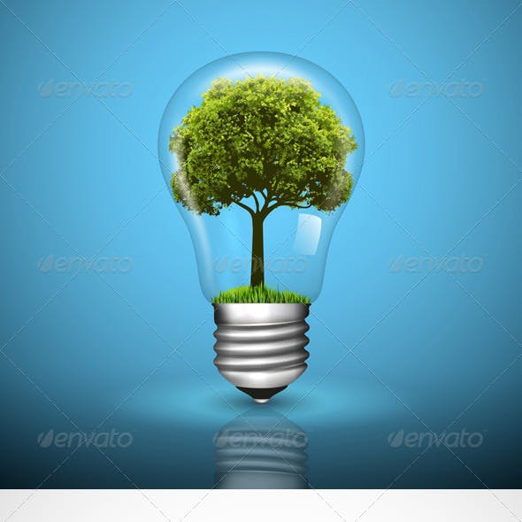 Light Bulb with Green Tree