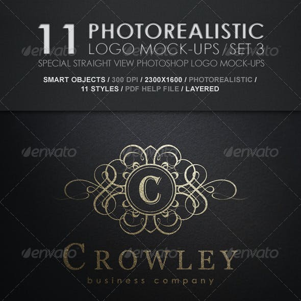 11 Photorealistic Logo Mock-Ups / Set 3