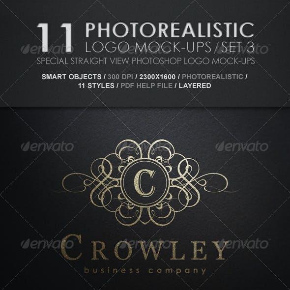 11 Photorealistic Logo Mock-Ups / Set 3