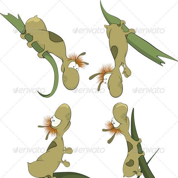 Green Worms on a Leaf Cartoon
