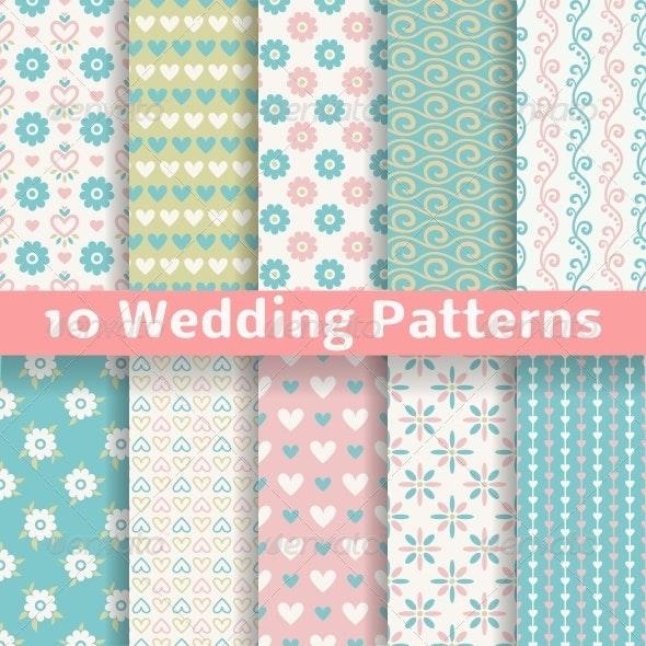 Pastel Wedding Seamless Patterns - Patterns Decorative