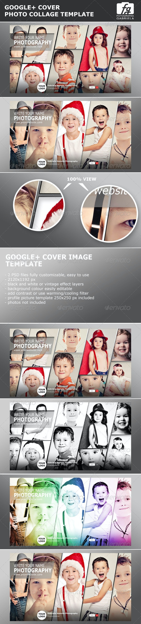 Google+ Photo Collage Photoshop Template - Miscellaneous Social Media