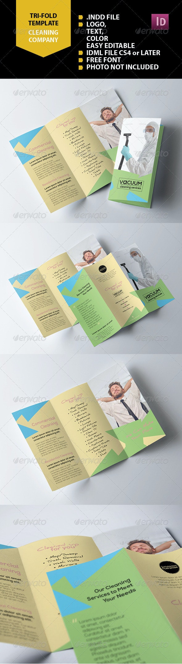 Cleaning Company Trifold - Brochures Print Templates