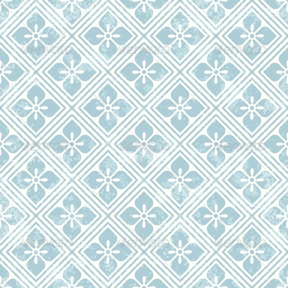 Geometric Floral Pattern in Retro Style - Patterns Decorative