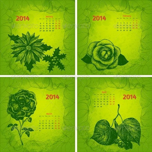 Colourful 2014 Year Vector Calendar