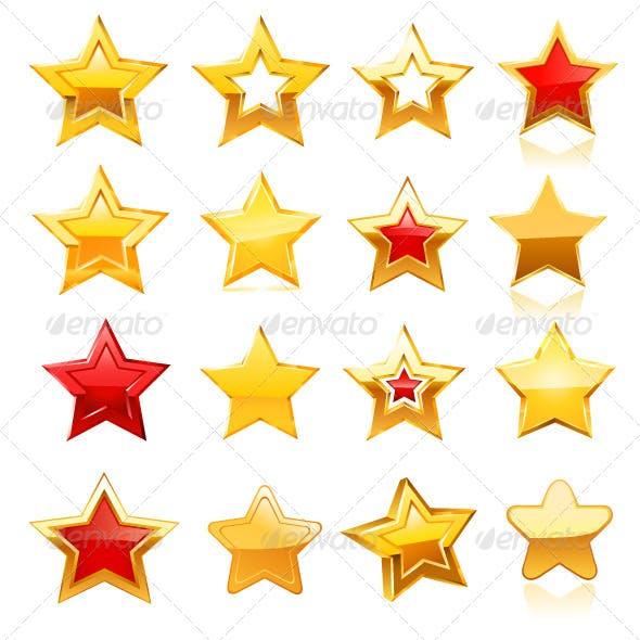 Gold Star Icon Set