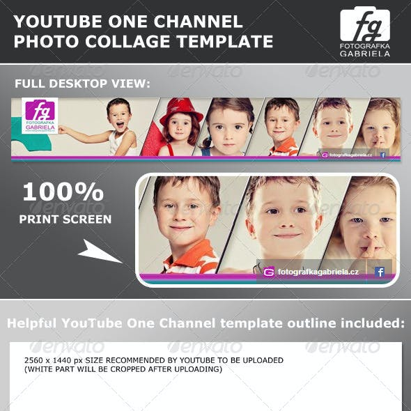 YouTube One Channel Photo Collage Template
