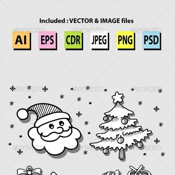 Set of Christmas Icon Sketches