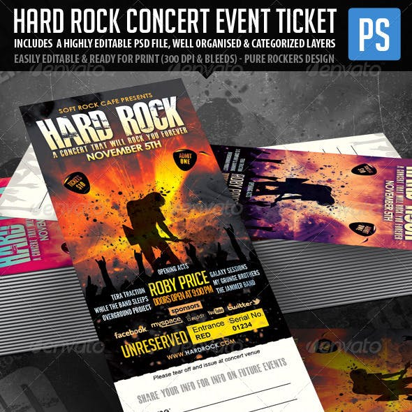 Hard Rock Concert Event Ticket/Show Pass