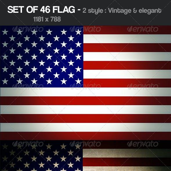 Set of 46 Flag vintage & Elegant