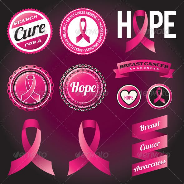 Badge and Breast Cancer Awareness Ribbon Graphics, Designs
