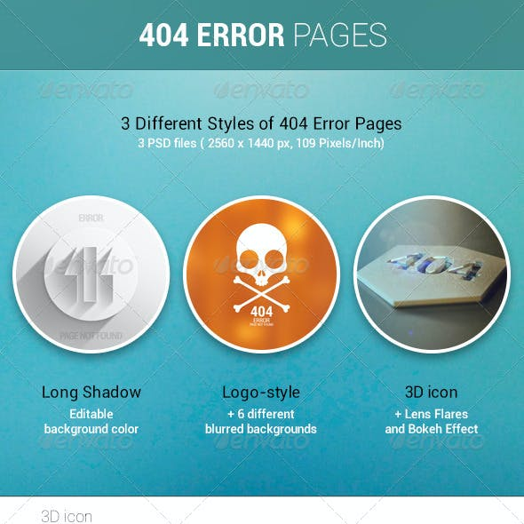 404 Error Page. 3 Different Styles
