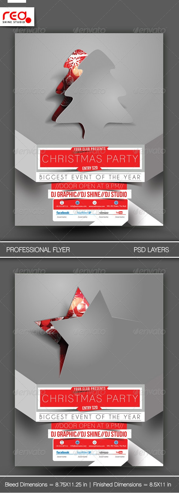 Christmas Party Flyer & Poster Template - 1 - Clubs & Parties Events