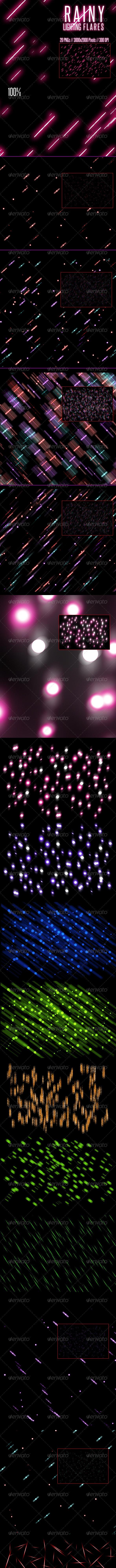20 Rainy Lighting Flares - Flourishes / Swirls Decorative