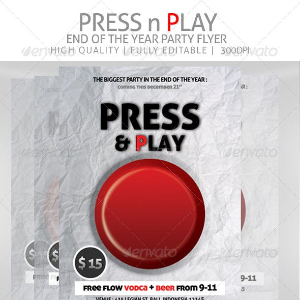 Press n Play Party Flyer