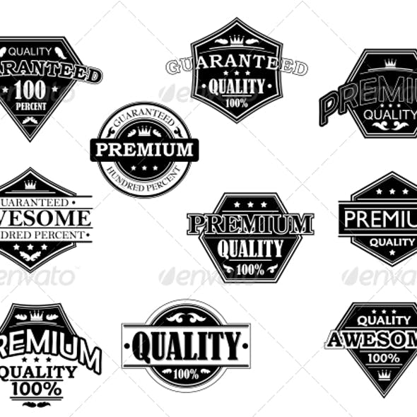 Set of Labels and Banners in Retro Style