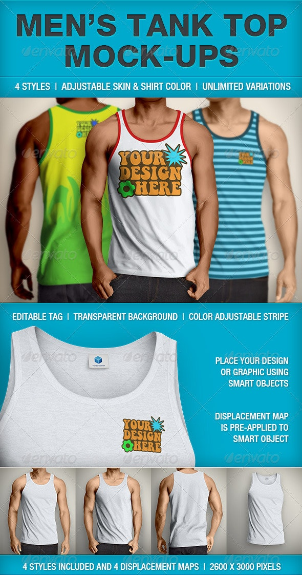 Tank Top Mockup | Men's - T-shirts Apparel
