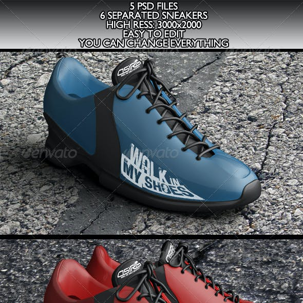 6 Realistic Sneakers Mock-Ups Vol.1