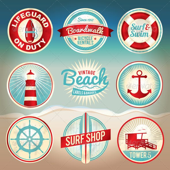 Vector Vintage Beach Labels and Badges