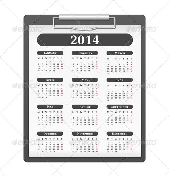 2014 Calendar - Objects Vectors
