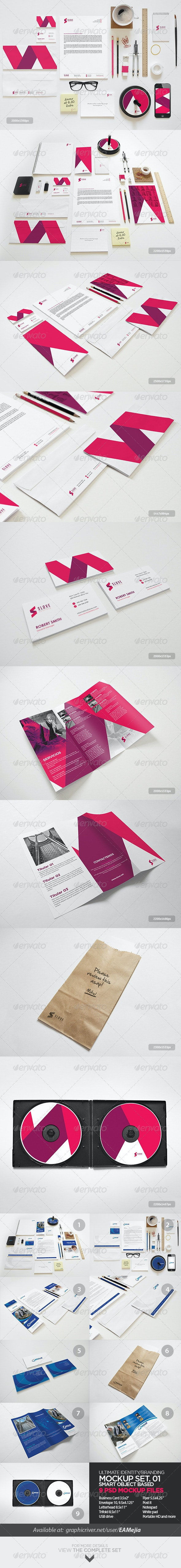 Ultimate Identity & Branding Mock-up Set. 01 - Print Product Mock-Ups