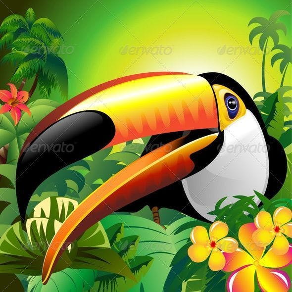 Toucan Close Up on Green Jungle
