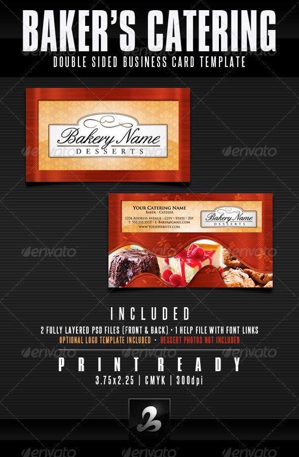 Baker's Catering Business Card Templates - UPDATED - Industry Specific Business Cards