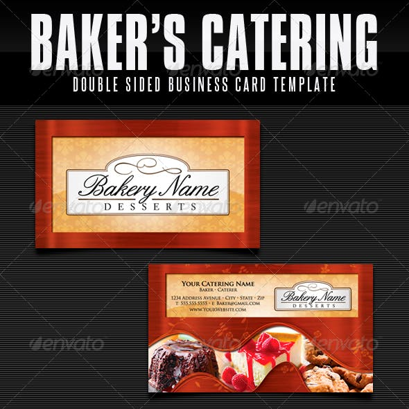 Baker's Catering Business Card Templates - UPDATED