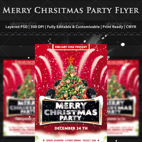 Merry Christmas Party Flyer Templates