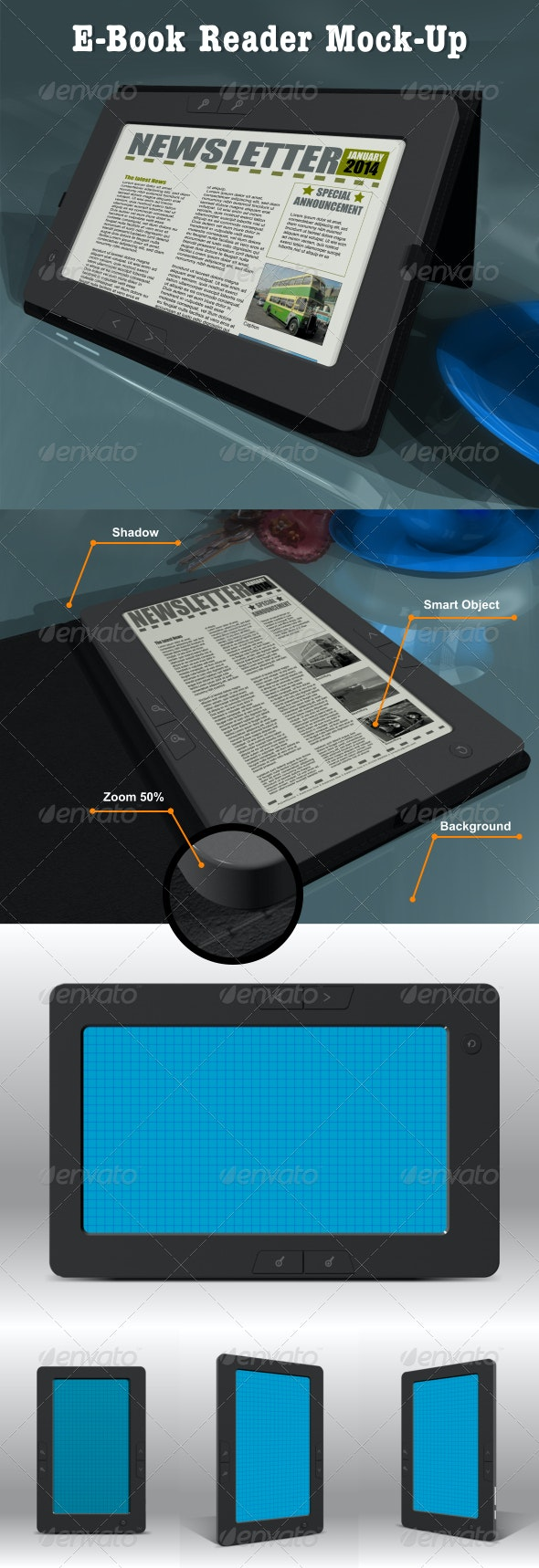 eBook Reader Mock-Up - Displays Product Mock-Ups