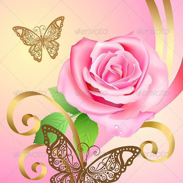 Greeting Postcard with Rose and Butterflies