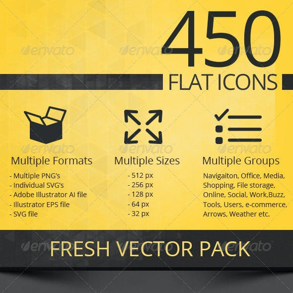 450 Flat Icons Pack