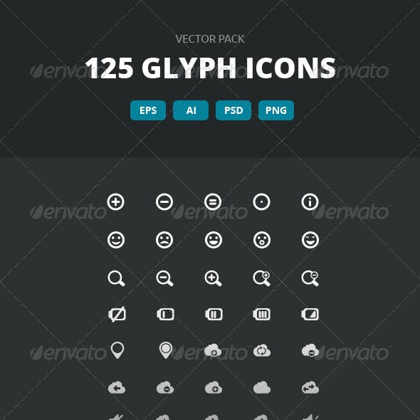 125 Glyph Icons - Vector pack