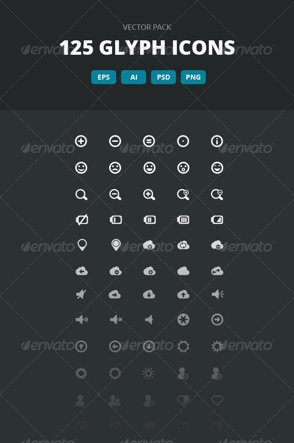 125 Glyph Icons - Vector pack - Icons