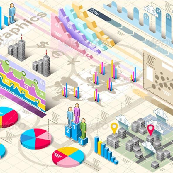 Isometric Infographic Set Elements