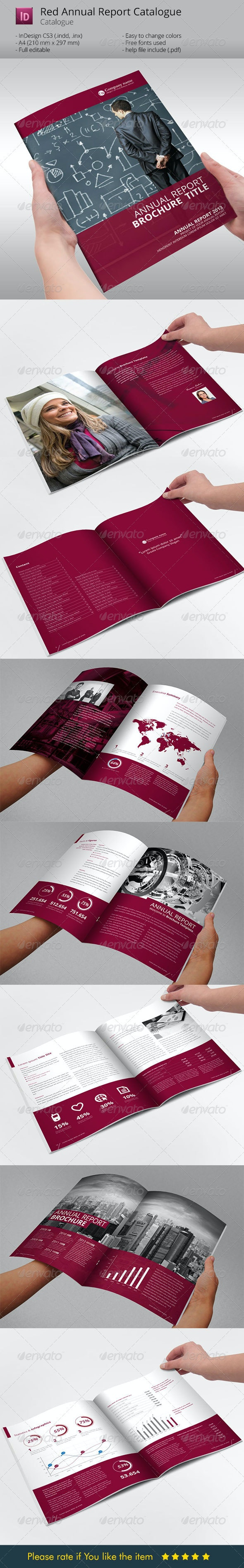 Red Annual Report Brochure Indesign Template - Corporate Brochures