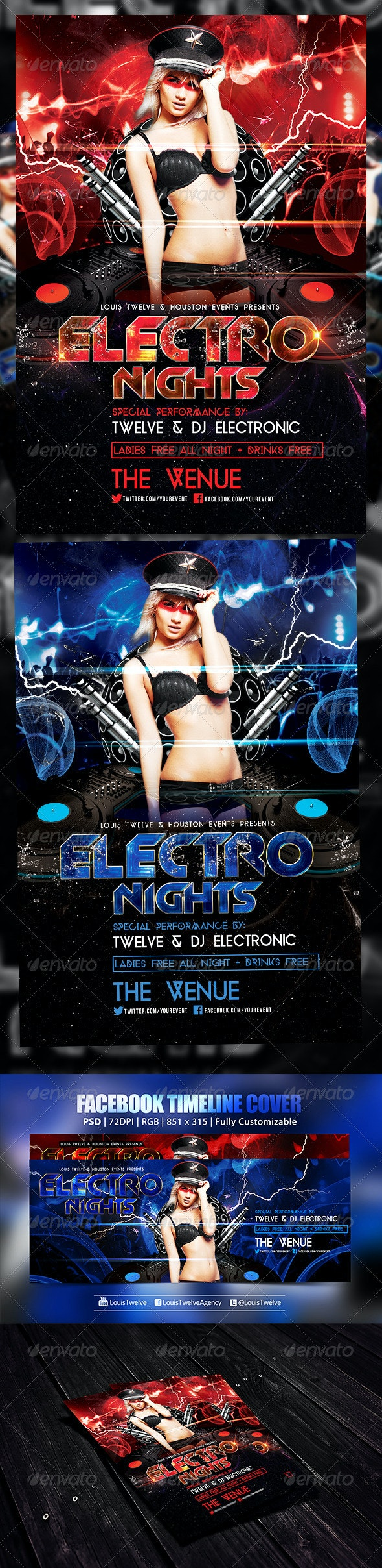 Electro Nights | Flyer + FB Cover - Clubs & Parties Events