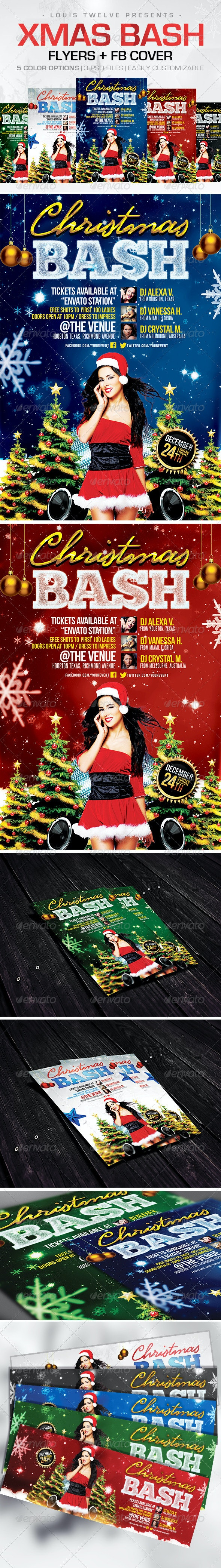 Christmas Bash | Flyers + FB Cover - Holidays Events