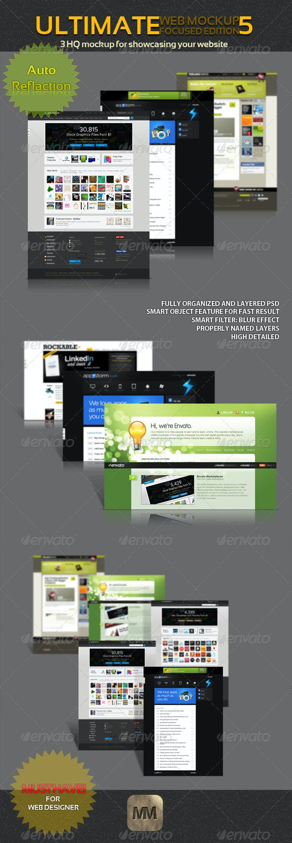 Web Mockup pack - 5 - Website Displays