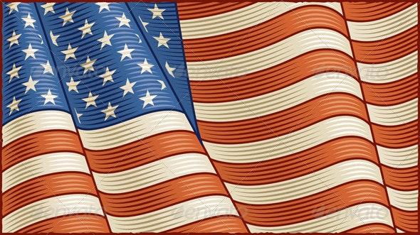 Vintage American Flag Background