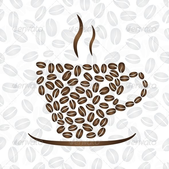 Cup Of Coffee, Consisting Of Coffee Beans