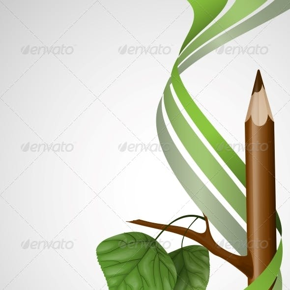 Wooden Pencil with Leaf.