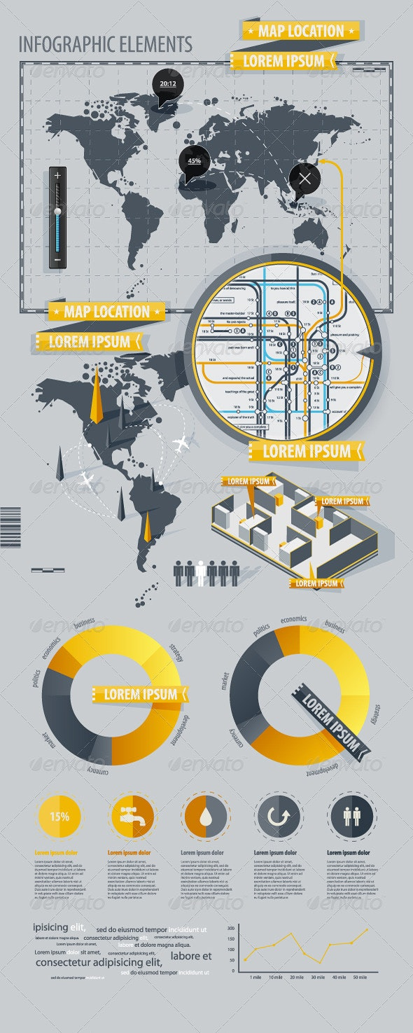 Infographic Elements with world map  - Infographics
