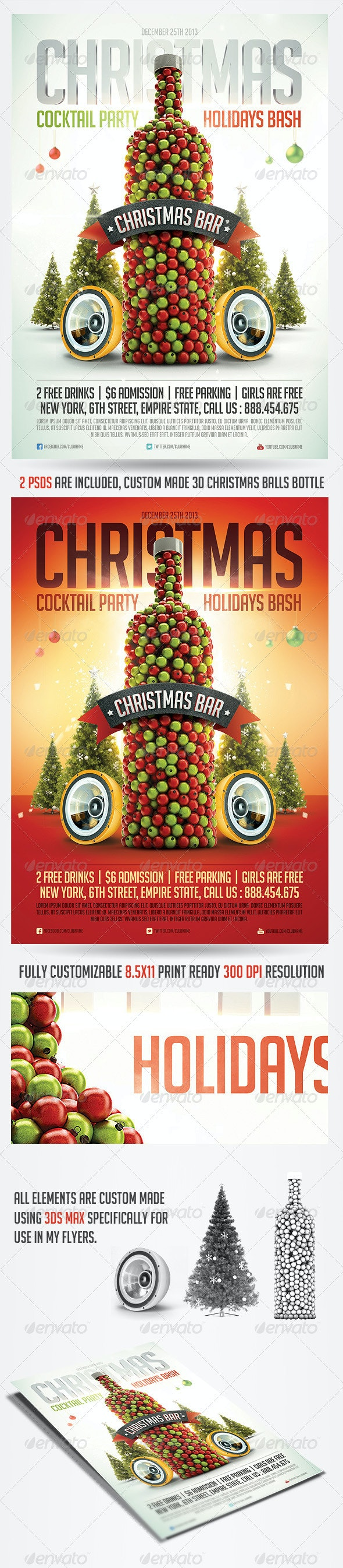 Christmas Cocktail Flyer Template - Holidays Events